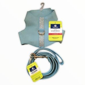 Top Paw Bling Vest/Harness Blue &Matching Leash XS